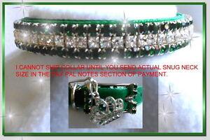 ~ Emeralds & Diamonds Velvet ~ Crystal Rhinestone Dog Collar #482