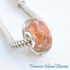 WAVES BRONZE and ORANGE MURANO GLASS 925 Sterling Silver EUROPEAN Bead Charm