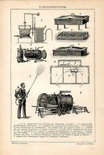 Stampa antica DISINFEZIONE STERILIZZAZIONE macchine attrezzature 1910 Old print