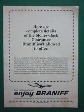 3/1964 PUB BRANIFF AIRWAYS AIRLINES US CITIES SOUTH AMERICA AIRLINER ORIGINAL AD