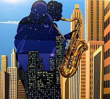 "Reudor ""City Serenade"" Signed Numbered Serigraph Art, jazz music sax Israel"