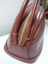 SAC A MAIN ANCIEN DE COLLECTION EN CUIR MARRON VERS 1950