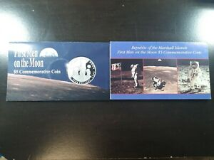 1989 $5 First Men on the Moon Commemorative Coins Marshall Islands Lot of 2