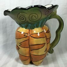 Carrots Figural Pitcher Blue Sky Clayworks Hand Painted by Heather Goldmine