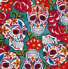 FESTIVE SUGAR SKULLS Turquoise DAY OF DEAD Skull FQ Calaveras MEXICAN FOLK ART