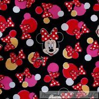 BonEful FABRIC FQ Cotton Quilt Red White Pink B&W Minnie Mouse Disney Girl Dot L