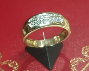 BEAUTIFUL SECONDHAND 9ct YELLOW GOLD DOUBLE ROW 0.10ct DIAMOND RING SIZE S 1/2