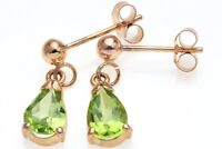 9ct Yellow Gold Lime Green Peridot Drop Earrings, August Birthstone, Ladies Gift