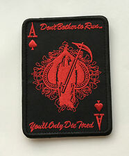 ACE OF SPADES GRIM REAPER DEATH CARD TACTICAL RED BLACK OP   MORALE PATCH