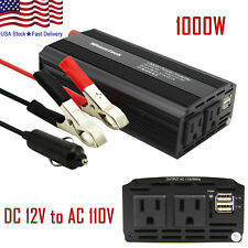 1000W 2000W Car Power Inverter DC 12V To AC 110V 2 AC Outlets RV Solar Converter