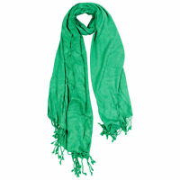 Lime Green Jacquard Style Embroidered Rectangle Women's Hijab Scarf with Tassles