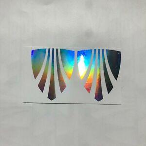 2x TREK front logo decals stickers iridescent chrome rainbow frame emblem bike