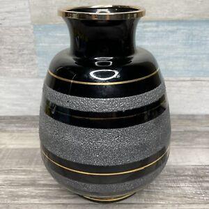 """Artist Signed Vase 24K Gold Edged """"Nicolau"""" Black Japan MCM Lacquerware #963"""