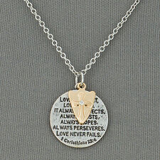 Silver Chain 1 Corinthians 13:4 Bible Verse Scripture Cross Pendant Necklace