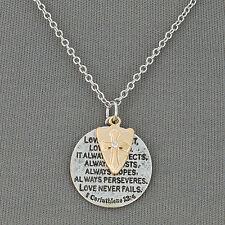 Silver Chain 1 Corinthians 13:4 Bible Verse Scripture Cross Pendant Necklace