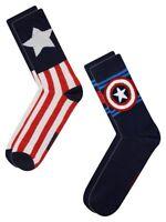 Marvel Captain America Shield 2-Pack Pair Crew Socks sz 6-12 Avengers End Game