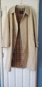 Men's Vintage Burberry Trench Coat Beige Overcoat Nova Check Lining