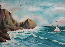 Antique seascape sea coast oil painting