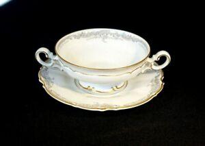 Beautiful Lorelei Loreley  Hutschenreuther Gold Trim Cream Soup Bowl And Saucer