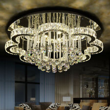 LED Crystal Ceiling Light Living Dimmable Lighting Chandelier Big Lamp Fixture