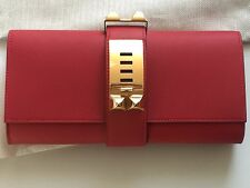 Hermes Medor Clutch 23 cm Vermilion Red Gold Hardware Store Fresh New