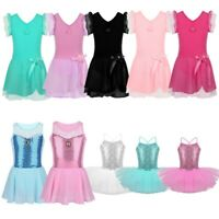 Girls Kids Ballet Dress Gymnastics Leotard Tutu Skirt Skating Dance Wear Costume