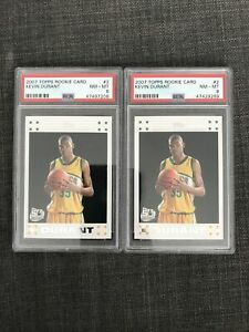 2007 Topps #2 Kevin Durant Rookie Card White Border Graded Psa 8 X2 Cards