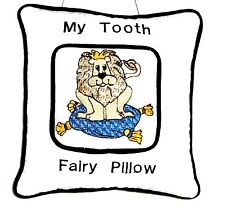 Tooth Fairy Pillow with Lion embroidered on White Cotton L1 New Handmade