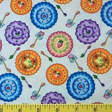 TEA PARTY cotton fabric for sewing and quilting CHINA SPOONS SAUCERS PLATES