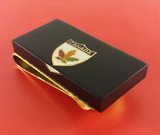"In Lucite On Black"" 50 mm x 26 Vintage Canada Money Clip ""Maple Leaf On Shield"
