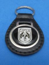PONTIAC FIERO AUTO LEATHER KEYCHAIN KEY CHAIN RING FOB WHITE SHIELD #259