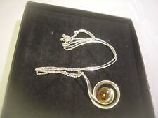 """SOLID 925 SILVER 18 """" CURB CHAIN REAL GOOD AMBER PENDENT-HAND MADE SPIRAL DESIGN"""