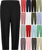 New Plus Size Womens Plain 3/4 Elasticated Ladies Trousers Shorts Pants 12-24
