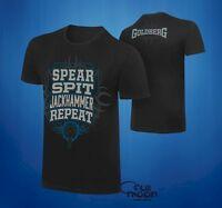New WWE Bill Goldberg Mens WWF Spear Spit Jackhammer Repeat T-Shirt