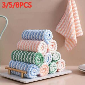 3/5/8Pcs Super Absorbent Kitchen Dish Cloth Towel Dishcloths Washing Cleaning