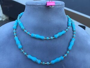 Handmade Long Necklace of Turquoise Magnesite Stones and Gold Czech Glass Beads
