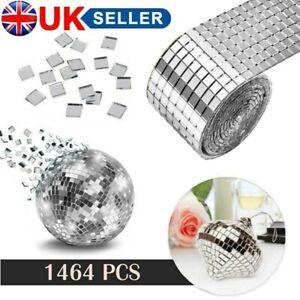 1464PC Glass Mosaic Tiles Mirror Self Adhesive Sticker Mini Square Decal Home UK