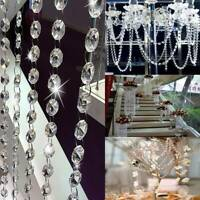 1M - Clear Octagon Glass Beads Crystal Chandelier Chain Part DIY Supplies Decor