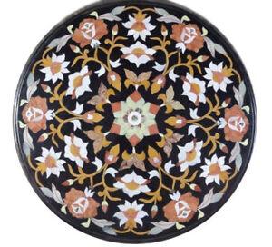 "24"" Round Black Marble Table Top Semi Precious Stones Handicraft Inlay"