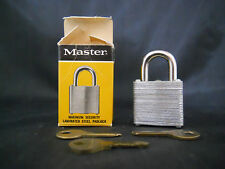 VINTAGE MASTER SECRET SERVICE LAMINATED STEEL PADLOCK #7 W/3 KEYS