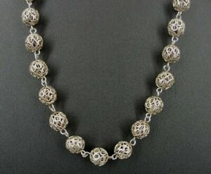 """Necklace Silver Filigree Beads Sterling Strand 27"""" Long Handmade Necklace"""