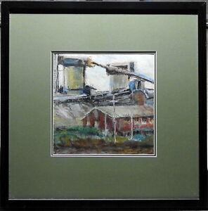 Joyce Wilcock Original Oil Painting Wollongong Port Kembla Industrial Sculpture