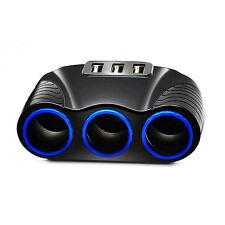 3 Way Car Cigarette Lighter 3 USB Ports DC Adapter Car Charger Spliter Socket M