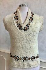 Hand Knitted Aran Cream Unisex Knit Winter Wool Tank Top Jumper Knitwear M/L