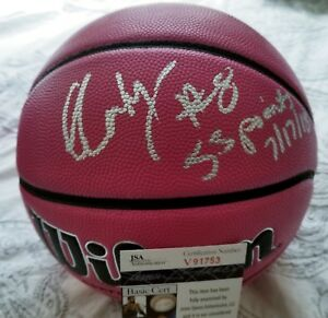 Liz Cambage Signed Wilson Pink NCAA Basketball With Inscriptions JSA CERTIFIED