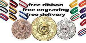 10x 50mm Metal Medalla Grabado Gratis, Cinta & Niños Rugy Fiesta