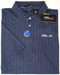NEW $98 Polo Ralph Lauren RLX Short Sleeve Blue Clubs Shirt Wicking UV Protect