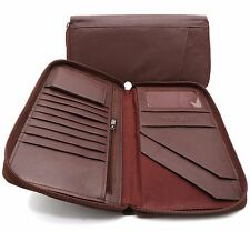 Bifold Maroon Brown Genuine Leather Large Travel Passport Zip-Around Wallet