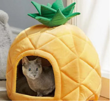 PINEAPPLE Pet Small Cat Dog IGLOO Plush Bed Cave House NOVELTY