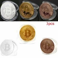 3 Pcs/set Rare Collectible In Stock New Golden Iron Bitcoin Commemorative Coins